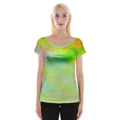 Abstract Yellow Green Oil Cap Sleeve Tops