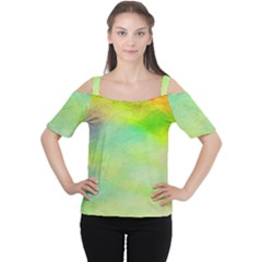 Abstract Yellow Green Oil Women s Cutout Shoulder Tee