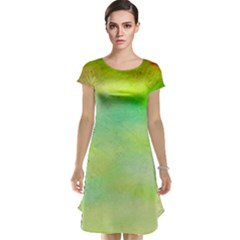 Abstract Yellow Green Oil Cap Sleeve Nightdress