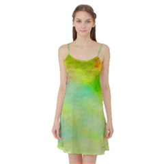 Abstract Yellow Green Oil Satin Night Slip
