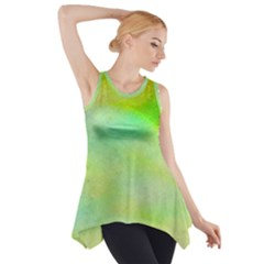 Abstract Yellow Green Oil Side Drop Tank Tunic