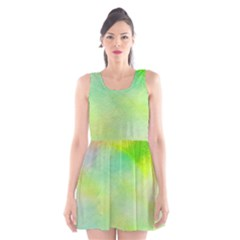 Abstract Yellow Green Oil Scoop Neck Skater Dress
