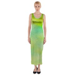Abstract Yellow Green Oil Fitted Maxi Dress