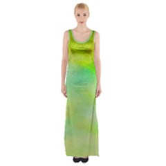 Abstract Yellow Green Oil Maxi Thigh Split Dress