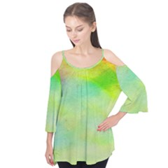 Abstract Yellow Green Oil Flutter Tees