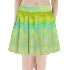 Abstract Yellow Green Oil Pleated Mini Skirt