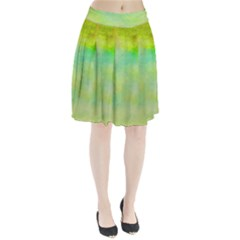 Abstract Yellow Green Oil Pleated Skirt
