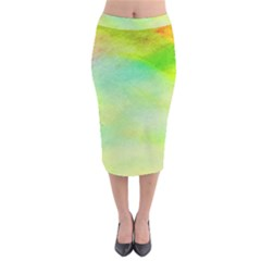 Abstract Yellow Green Oil Velvet Midi Pencil Skirt