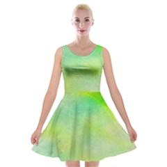 Abstract Yellow Green Oil Velvet Skater Dress