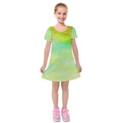 Abstract Yellow Green Oil Kids  Short Sleeve Velvet Dress