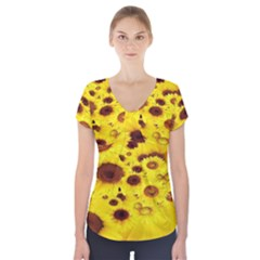 Beautiful Sunflowers Short Sleeve Front Detail Top
