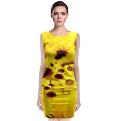 Beautiful Sunflowers Sleeveless Velvet Midi Dress