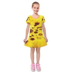 Beautiful Sunflowers Kids  Short Sleeve Velvet Dress