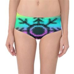 Vector Snowflake Mid Waist Bikini Bottoms