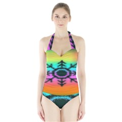 Vector Snowflake Halter Swimsuit