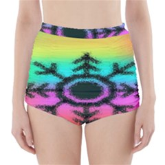 Vector Snowflake High Waisted Bikini Bottoms