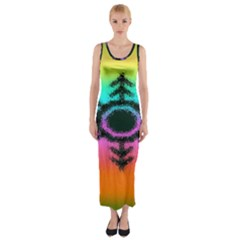 Vector Snowflake Fitted Maxi Dress