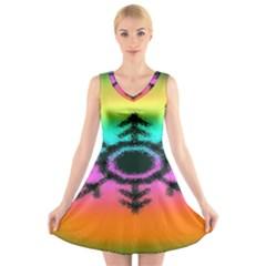 Vector Snowflake V Neck Sleeveless Skater Dress