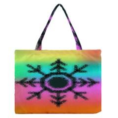Vector Snowflake Medium Zipper Tote Bag