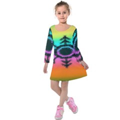 Vector Snowflake Kids  Long Sleeve Velvet Dress