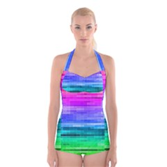 Pretty Color Boyleg Halter Swimsuit