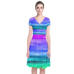 Pretty Color Short Sleeve Front Wrap Dress