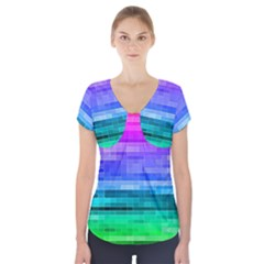 Pretty Color Short Sleeve Front Detail Top