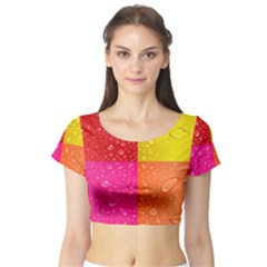 Color Abstract Drops Short Sleeve Crop Top (tight Fit)