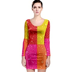 Color Abstract Drops Long Sleeve Bodycon Dress