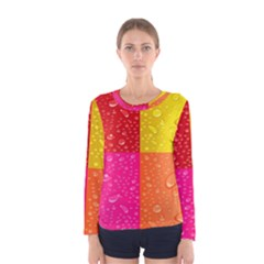 Color Abstract Drops Women s Long Sleeve Tee