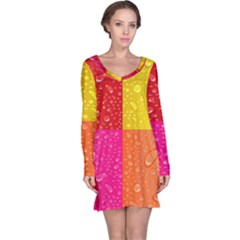 Color Abstract Drops Long Sleeve Nightdress