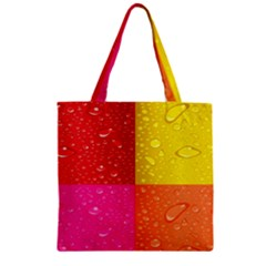 Color Abstract Drops Zipper Grocery Tote Bag
