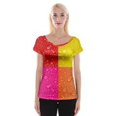 Color Abstract Drops Cap Sleeve Tops