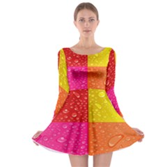Color Abstract Drops Long Sleeve Skater Dress