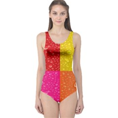 Color Abstract Drops One Piece Swimsuit