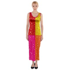 Color Abstract Drops Fitted Maxi Dress