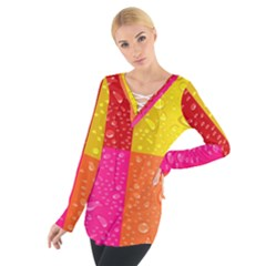 Color Abstract Drops Women s Tie Up Tee