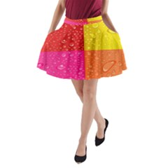 Color Abstract Drops A Line Pocket Skirt
