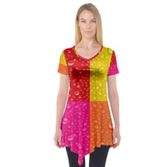 Color Abstract Drops Short Sleeve Tunic