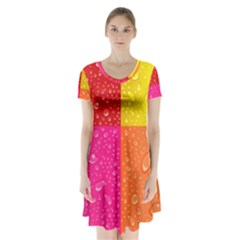 Color Abstract Drops Short Sleeve V Neck Flare Dress