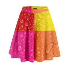 Color Abstract Drops High Waist Skirt