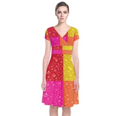 Color Abstract Drops Short Sleeve Front Wrap Dress