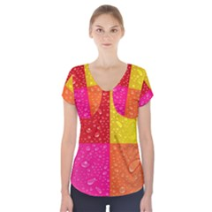 Color Abstract Drops Short Sleeve Front Detail Top