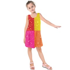 Color Abstract Drops Kids  Sleeveless Dress