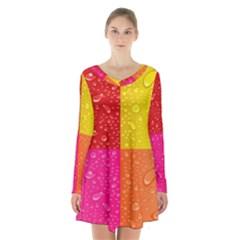 Color Abstract Drops Long Sleeve Velvet V Neck Dress