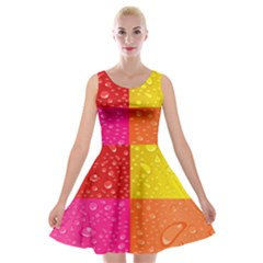 Color Abstract Drops Velvet Skater Dress