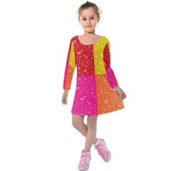 Color Abstract Drops Kids  Long Sleeve Velvet Dress