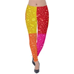 Color Abstract Drops Velvet Leggings