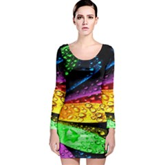 Abstract Flower Long Sleeve Bodycon Dress