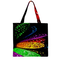 Abstract Flower Zipper Grocery Tote Bag
